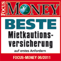 Award Focus Money 06/2011: Beste Mietkautionsversicherung