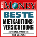 Award Focus Money 20/2013: Beste Mietkautionsversicherung