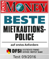 Award Focus Money 09/2016: Beste Mietkautionspolice